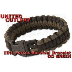 United Cutlery Elite Forces OD Green Black Paracord Survival Bracelet UC2814