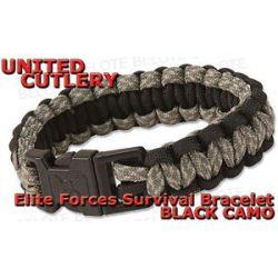 United Cutlery Elite Forces Black Camo Paracord Survival Bracelet UC2815