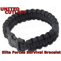 United Cutlery Elite Forces Black Paracord Survival Bracelet UC2763 New