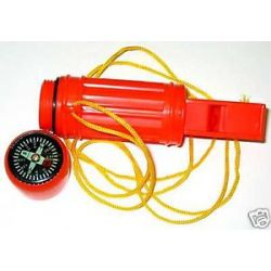 12 Lot 5 in 1 Emergency Whistle Compass Flint Mirror
