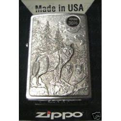 Zippo Timberwolves Emblem Brushed Chrome Lighter 20855