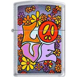 Zippo Hippie Love Flower Child Peace Happiness Satin Chrome Lighter New