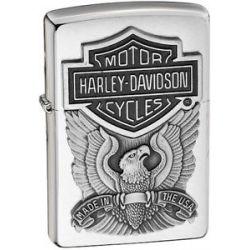 Zippo Harley Davidson HD Eagle Logo Emblem Brushed Chrome Lighter 200HD H284 New