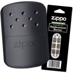 Zippo Black Refillable Hand Warmer Wpouch Additional Burner 40310 40285 44003