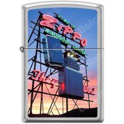 Zippo Home of Zippo Neon Sign Bradford PA Satin Chrome Windproof Lighter New