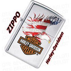 Zippo Harley Davidson Flag Eagle Chrome Lighter 28082