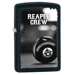 Zippo SOA Black Matte Reaper Crew Windproof Lighter 28677 New