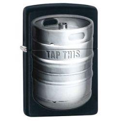 Zippo Black Matte Tap This Keg Windproof Lighter 28665 New