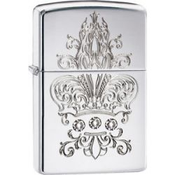 Zippo Choice Crown with Crystal Fleur de Lis High Polish Chrome 28805 New