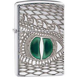 Zippo Choice Emerald Reptile Eye Polish Chrome Armor Engrave Dragon Snake 28807