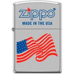 Zippo USA Flag Zippo Logo Windproof Lighter Satin Chrome RARE Hard to Find New