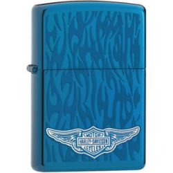 Zippo Harley Davidson HD Wings Ghost Flames Sapphire Lighter 28687 L K New