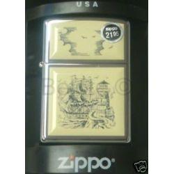 Zippo High Polish Chrome w Scrimshaw SHIP Emblem 359