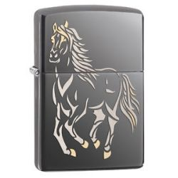 Zippo Black Ice Horse Laser Engrave 2 Tone Windproof 28645 New