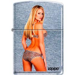 Zippo Lady with Leopard Bikini Street Chrome Windproof Lighter New RARE