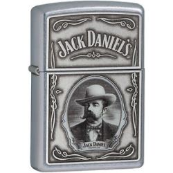 Zippo Jack Daniels Old No 7 Cameo Pewter Emblem Street Chrome 28343 New