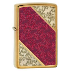 Zippo Choice Elegant Damask Pattern on Brushed Brass Windproof Lighter 28377