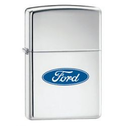 Zippo Ford Oval High Polish Chrome Lighter 250f 957 New