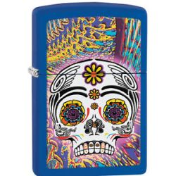 Zippo Day of The Dead Royal Navy Blue Matte Windproof Lighter 28470 New