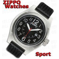 Zippo Black Face Sport Watch Black Band 45012 New