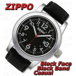 Zippo Black Face Black Leather Band Casual Watch 45003