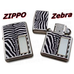 Zippo Zebra Chrome Lighter w Engraving Window 28046