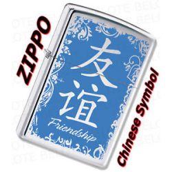 Zippo Chinese Symbol Friendship Chrome Lighter 28065