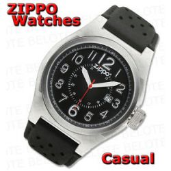 Zippo Black Face Casual Watch Black Leather Band 45010 New
