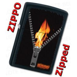 Zippo Zipped Flaming Zipper with Logo Black Matte Windproof Lighter 28309 New