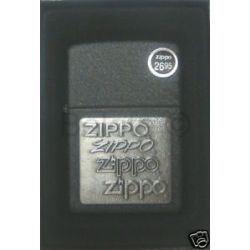 Zippo Pewter Emblem Black Crackle Lighter Model 363 New