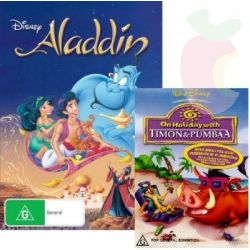 Aladdin PLUS Bonus Copy of Timon & Pumbaa DVD on DVD.