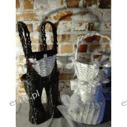 Kosze ślubne na wino i kieliszki, wiklina papierowa, ręcznie robiony NA ZAMÓWIENIE Koszyki