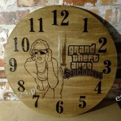 Zegar drewniany, ręcznie wypalany, duży