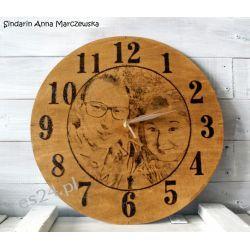 Zegar drewniany portret podwójny, ręcznie wypalany, duży