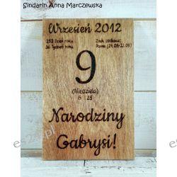 Ręcznie wypalana metryczka - kartka z kalendarza Okazje, przyjęcia