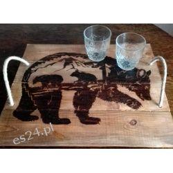 Drewniana, ręcznie wypalana taca z motywem niedźwiedzi i gór Tace