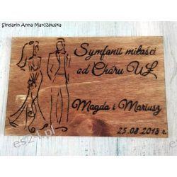 Drewniana pocztówka z okazji ślubu Rękodzieło