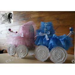 Wózek na chrzest, narodziny, wiklina papierowa, ręcznie robiony Rękodzieło