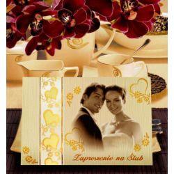Zaproszenia ślubne, ze zdjęciem, na ślub +OPASKA