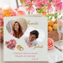 Zaproszenia ślubne, ze zdjęciem, na ślub KWADRTOWE