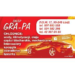 WIZYTÓWKA SKLEP GRA-PA P.O.W. 17 90-248 ŁÓDŹ Pompy i wysprzęgliki