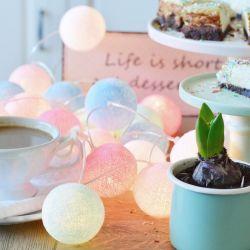 Cotton Ball Lights 20 Świecących Kul Pastele