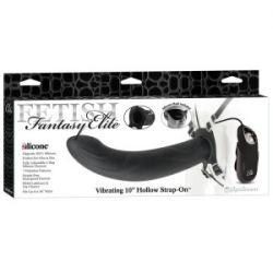 Starp On dla kobiet i mężczyzn + wibracje - 10 Vibrating Hollow Strap-On FF Elite...