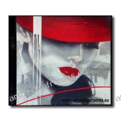 AP 296, nowoczesne obrazy do salonu, portret kobiety, dama w czerwonym kapeluszu,