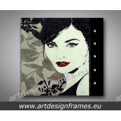 A 6391, nowoczesne obrazy do salonu, elegancki portret kobiety,