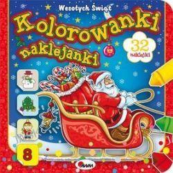 Kolorowanki naklejanki. Wesołych Świąt + naklejki - Piotr Kozera