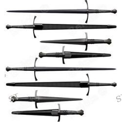 Cold Steel Maa Italian Long Sword Dagger Set Leather Scabbard 88ITSM 88ITDM