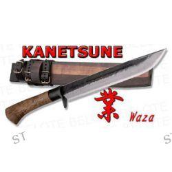 "Kanetsune Seki 9 5"" Waza Damascus Field Knife w Wood Sheath KB 115 New"