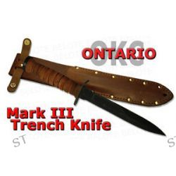 Ontario Knife Company Mark III M3 Trench Knife w Leather Sheath 8155 New