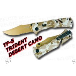 S O G SOG Trident Folder Desert Camo Serrated TF 5 New